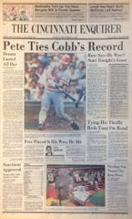 The Cincinnati Enquirer front page for Sept. 9, 1985, reporting Pete Rose tying Ty Cobb for the hits record.