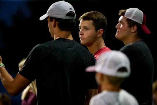 Iowa State quarterback Brock Purdy watches during the Valley and Dowling football game at Valley Stadium on Friday, Sept. 6, 2019 in Des Moines. Dowling Catholic takes a 14-9 lead over Valley into halftime