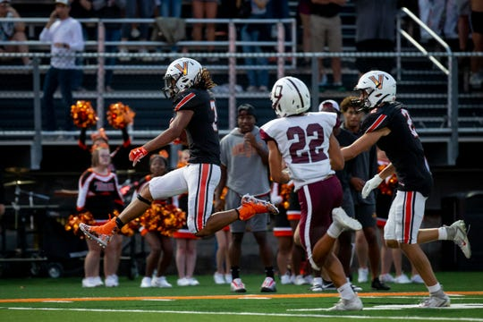 Valley's Jayden Williams (7) high steps into the end zone during their football game at Valley Stadium on Friday, Sept. 6, 2019 in Des Moines. The play was later called back due to a penalty. Dowling Catholic takes a 14-9 lead over Valley into halftime