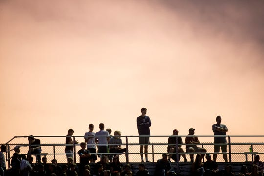 Fans watch during the first half of the Valley and Dowling Catholic football game at Valley Stadium on Friday, Sept. 6, 2019 in Des Moines. Dowling Catholic takes a 14-9 lead over Valley into halftime