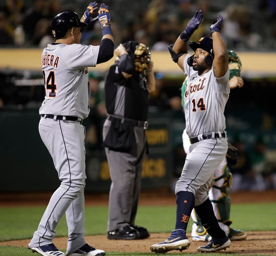 Tigers left fielder Christin Stewart, right, celebrates with designated hitter Miguel Cabrera after hitting a two-run home run during the seventh inning of the Tigers' 5-4 win on Friday, Sept. 6, 2019, in Oakland, Calif.