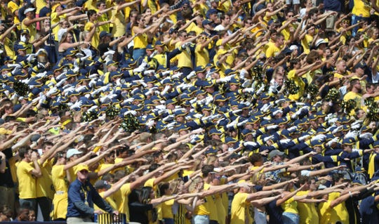 Michigan Wolverines fans cheer during action against the Army Black Knights Saturday, September 7, 2019 at Michigan Stadium in Ann Arbor, Mich.