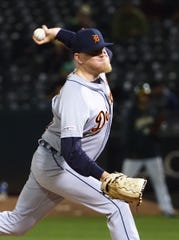 Tigers pitcher Daniel Stumpf pitches during the 10th inning of the Tigers' 5-4 win on Friday, Sept. 6, 2019, in Oakland, Calif.
