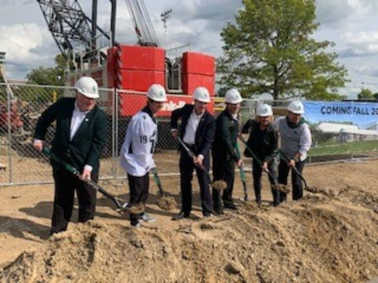 Ground is broken on an $18.8 million renovation to Munn Ice Arena. The project will include a 35,000 square foot addition, a new entrance, better training facilities and renovated office space.