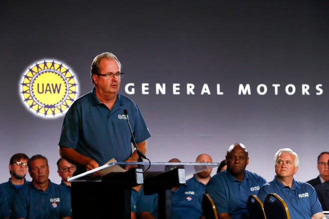 In this July 16 photo, United Auto Workers President Gary Jones speaks during the opening of their contract talks with General Motors in Detroit.
