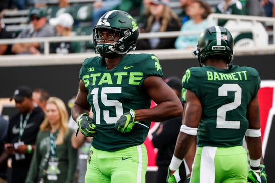 Michigan State running back La'Darius Jefferson during warmups at Spartan Stadium in East Lansing ahead of the Western Michigan game, Saturday, September 7, 2019.