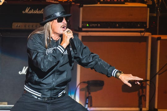Kid Rock kicks off his homecoming show at DTE Energy Music Theatre on Friday, Sept. 6, 2019.