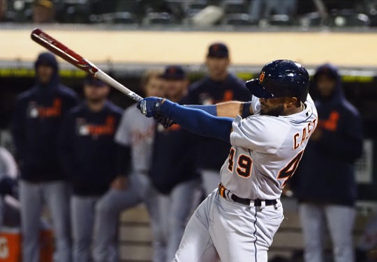Tigers shortstop Willi Castro hits an RBI double during the 11th inning of the Tigers' 5-4 win on Friday, Sept. 6, 2019, in Oakland, Calif.