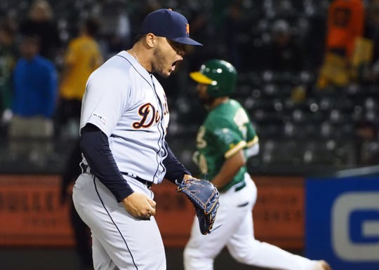 Tigers pitcher Joe Jimenez celebrates after the final out during the 11th inning of the Tigers' 5-4 win on Friday, Sept. 6, 2019, in Oakland, Calif.