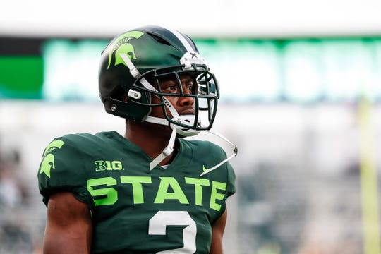 Michigan State receiver Julian Barnett during warmups at Spartan Stadium in East Lansing ahead of the Western Michigan game, Saturday, September 7, 2019.