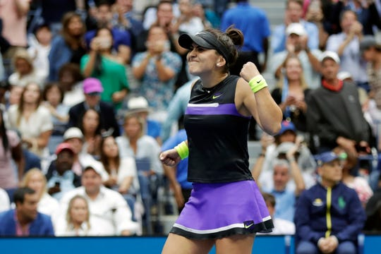 Bianca Andreescu finishes off her win over Serena Williams.