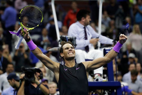 Rafael Nadal, of Spain, celebrates after defeating Matteo Berrettini, of Italy, in the men's singles semifinals of the U.S. Open tennis championships Friday in New York.