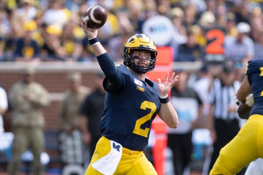Michigan quarterback Shea Patterson is 36-for-58 for 410 yards, including three TDs, in two games this season.