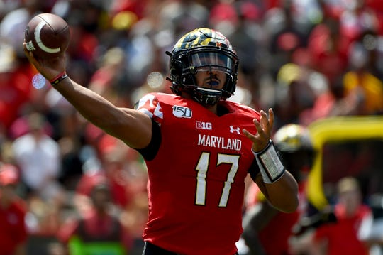Maryland quarterback Josh Jackson passes during the first half.