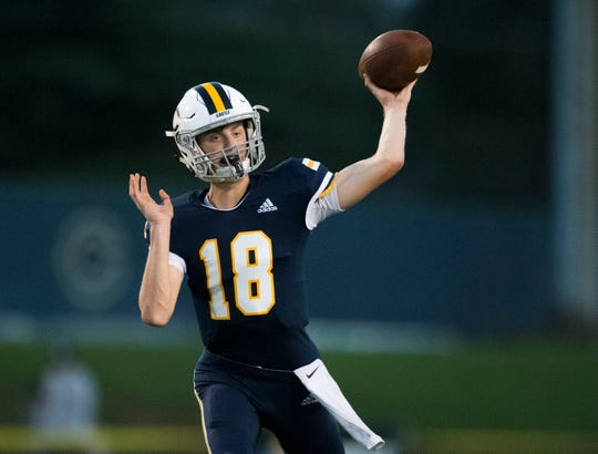 Nathan Harpenau completed 9 of his first 10 passes for 115 yards as Castle built a 17-0 first-quarter lead, then held on to defeat Reitz, 22-14, on Friday night.