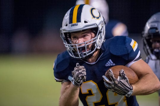 Castle's Connor Mcintire (24) carries the ball during the Castle Knights vs Reitz Panthers game at John Lidy Field Friday evening, Sept. 6, 2019.