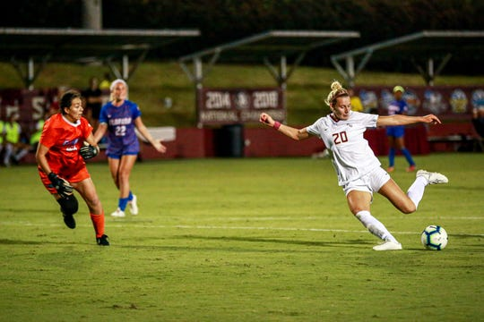 Kristen McFarland finished Friday night's match with one goal and two shots on net against the Gators.