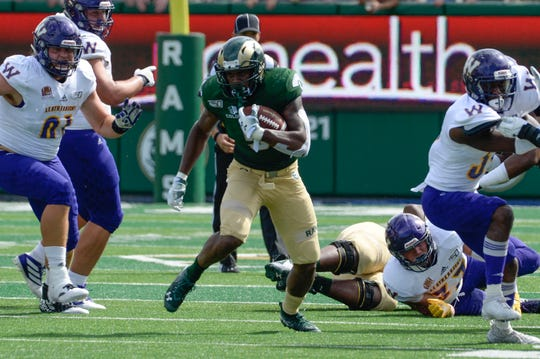 Sep 7, 2019; Fort Collins, CO, USA;  Colorado State Rams running back Marvin Kinsey Jr. (5) runs for a big gain against the Western Illinois Leathernecks  at Sonny Lubrick Field at Canvas Stadium. Mandatory Credit: Michael Madrid-USA TODAY Sports