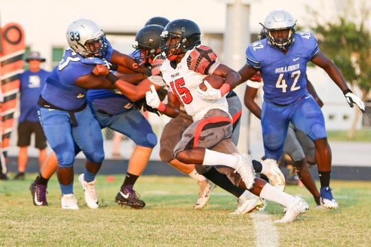 Action in the Lely at Ida Baker football game, September 6, 2019.