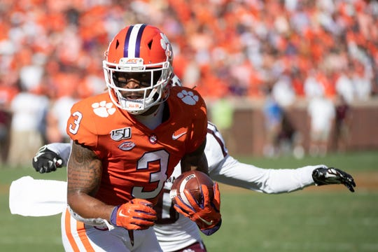Clemson wide receiver Amari Rodgers (3) carries the ball during the second quarter of the game against Texas A&M at Memorial Stadium in Clemson Saturday, Sept. 7, 2019.