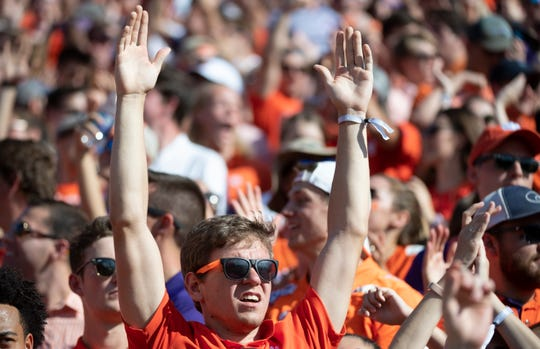 Clemson fans watch the game against Texas A&M at Memorial Stadium Saturday, Sept. 7, 2019.