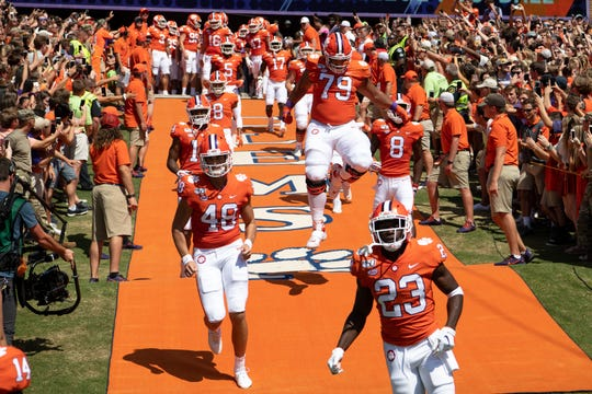 Clemson enters the field to face Texas A&M at Memorial Stadium in Clemson, S.C., Saturday, Sept. 7, 2019.