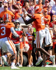Clemson wide receiver Justyn Ross (8) receives a pass for a touchdown against Texas A&M during the second quarter at Memorial Stadium in Clemson, S.C., Saturday, Sept. 7, 2019.