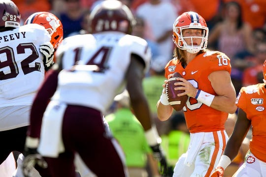 Clemson quarterback Trevor Lawrence (16) looks to pass against Texas A&M during the first quarter at Memorial Stadium in Clemson, S.C., Saturday, Sept. 7, 2019.
