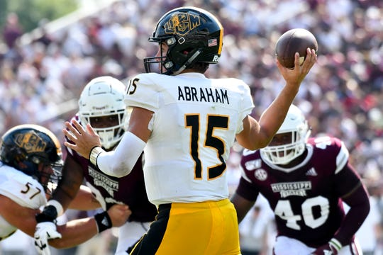 Sep 7, 2019; Starkville, MS, USA; Southern Miss Golden Eagles quarterback Jack Abraham (15) makes a pass against the Mississippi State Bulldogs during the second quarter at Davis Wade Stadium. Mandatory Credit: Matt Bush-USA TODAY Sports