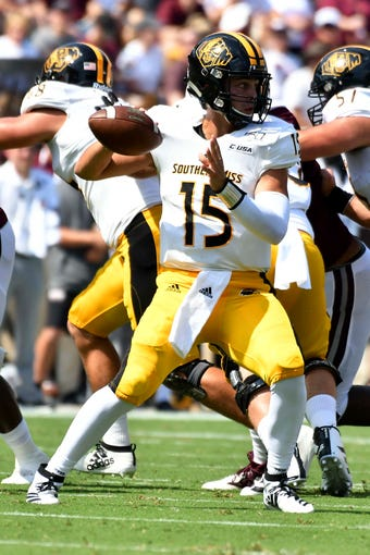 Sep 7, 2019; Starkville, MS, USA; Southern Miss Golden Eagles quarterback Jack Abraham (15) makes a pass against the Mississippi State Bulldogs during the first quarter at Davis Wade Stadium. Mandatory Credit: Matt Bush-USA TODAY Sports