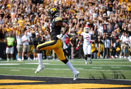 Iowa junior receiver Ihmir Smith-Marsette enters the end zone for a touchdown in the third quarter against Rutgers on Saturday, Sept. 7, 2019 at Kinnick Stadium in Iowa City.