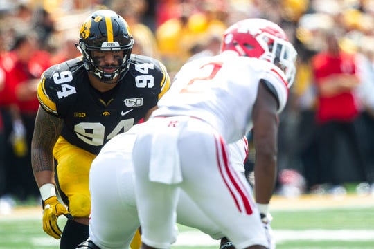 Iowa's chances at Iowa State will improve if A.J. Epenesa, left, can get into a lot of clear-cut pass-rush situations.