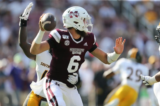 Mississippi State's Garrett Shrader (6) looks for a receiver. Mississippi State and Southern Mississippi played in a college football game on Saturday, September 7, 2019 at Davis Wade Stadium in Starkville. Photo by Keith Warren