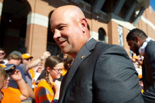 Tennessee Head Coach Jeremy Pruitt  greets fans during the Vol Walk on Saturday, September 7, 2019.