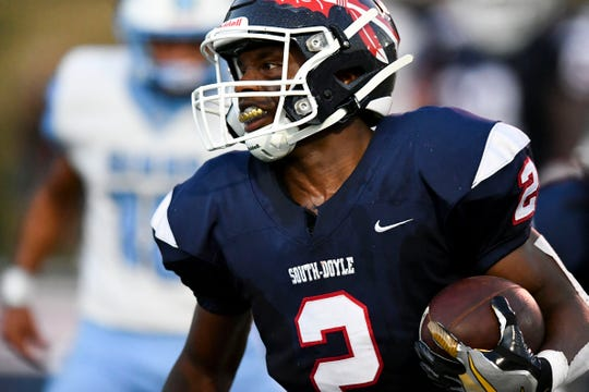 South-Doyle's Elijah Young (2) on a run play in the game against Gibbs on Friday, September 6, 2019.