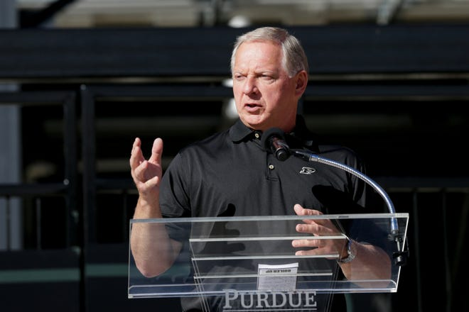Mike Bobinski, Purdue Athletics director speaks during a dedication ceremony for the Tyler Trent Student Gate, Saturday, Sept. 7, 2019 at Ross-Ade Stadium. Bobinski was named to the NCAA Division I Men's Basketball Committee on Thursday