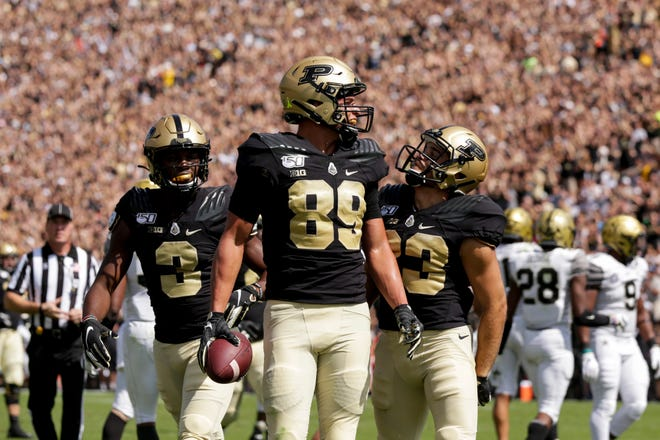 Purdue tight end Brycen Hopkins (89) celebrates a touchdown during the first quarter of a NCAA football game, Saturday, Sept. 7, 2019 at Ross-Ade Stadium in West Lafayette.