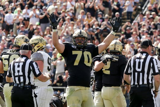 Purdue offensive lineman Will Bramel (70) celebrates a touchdown during the second half of a NCAA football game, Saturday, Sept. 7, 2019 at Ross-Ade Stadium in West Lafayette.