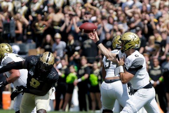 Vanderbilt quarterback Riley Neal (6) throws during the first quarter of a NCAA football game, Saturday, Sept. 7, 2019 at Ross-Ade Stadium in West Lafayette.