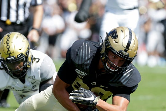 Purdue tight end Brycen Hopkins (89) scores a touchdown during the first quarter of an NCAA football game, Saturday, Sept. 7, 2019 at Ross-Ade Stadium in West Lafayette.