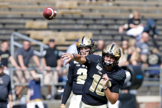 Purdue quarterback Aidan O'Connell (16) throws during warm ups before the start of the Purdue vs Vanderbilt game, Saturday, Sept. 7, 2019 at Ross-Ade Stadium in West Lafayette.