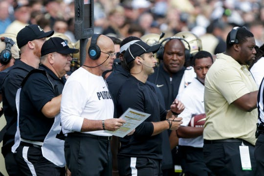 Purdue co-defensive coordinator Nick Holt during the first quarter of a NCAA football game, Saturday, Sept. 7, 2019 at Ross-Ade Stadium in West Lafayette.