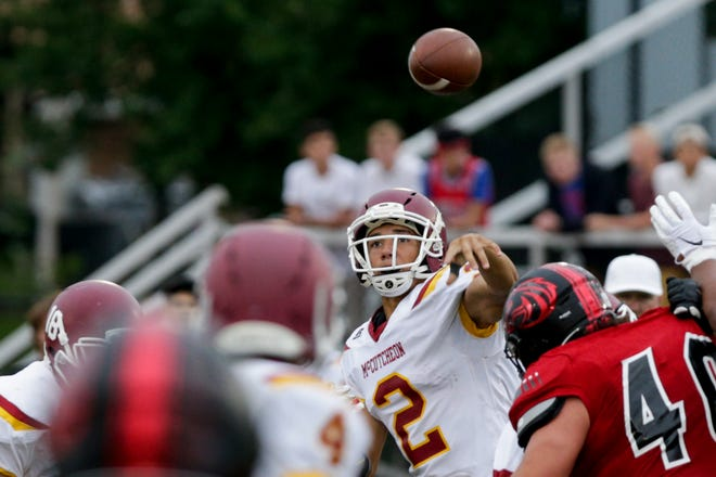 McCutcheon quarterback Mason Douglas (2) throws during the first quarter of an IHSAA football game, Friday, Sept. 6, 2019 at Scheumann Stadium in Lafayette. Lafayette Jeff won, 47-12.