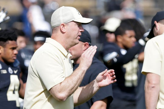 Purdue head coach Jeff Brohm reacts during warm ups before the start of the Purdue vs Vanderbilt game, Saturday, Sept. 7, 2019 at Ross-Ade Stadium in West Lafayette.