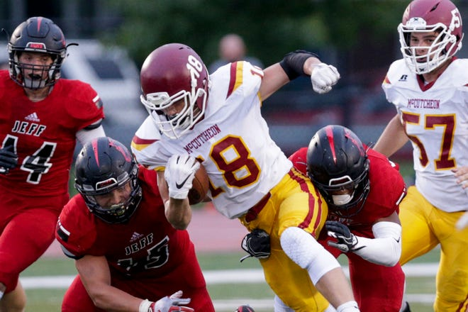 McCutcheon running back Brayden Stall (18) runs the ball during the second quarter of an IHSAA football game, Friday, Sept. 6, 2019 at Scheumann Stadium in Lafayette. Lafayette Jeff won, 47-12.