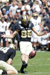 Purdue kicker J.D. Dellinger (85) kicks in an extra point during the second half of a NCAA football game, Saturday, Sept. 7, 2019 at Ross-Ade Stadium in West Lafayette.