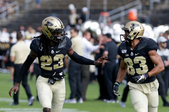 Purdue safety Cory Trice (23) and Purdue wide receiver Malcolm Dotson (83) during warm ups before the start of the Purdue vs Vanderbilt game, Saturday, Sept. 7, 2019 at Ross-Ade Stadium in West Lafayette.