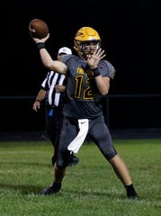 Berne Union freshman quarterback Nate Nemeth gets set to attempt a pass in a Week 2 game against Alexander. The Rockets will face rival Fisher Catholic on Friday at Fulton Field.