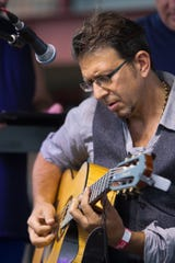 Sean Blackman plays guitar for the Audio Birds at Brighton's Smokin' Jazz and Barbecue Blues Festival Friday, Sept. 6, 2019.
