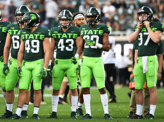 Spartan gridders wear their alternative uniforms Saturday, Sept. 7, 2019,  against Western Michigan at Spartan Stadium.